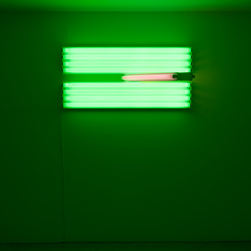 Dan Flavin / Dan Flavin Untitled (for the Vernas  on opening anew)  1993  58.5  x 122 x 51 cm green, pink and yellow fluorescent light Ed. 1/5
