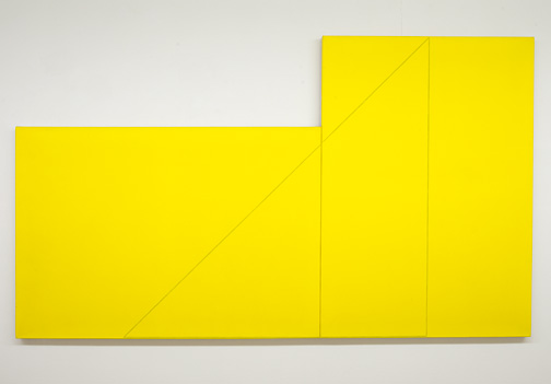 "Robert Mangold / Robert Mangold A Triangle within two Rectangles  1977  127 x 216 cm  /  50 x 85 "" Acrylic and black pencil on canvas"