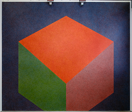 Andreas Christen / additional works in the exhibition: Sol LeWitt Tilted Form with color ink washes superimposed  1987  Wall Drawing #524 water based acrylic Drawn by Nicolai Angelov, 2013