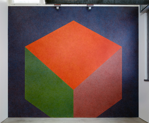 Andreas Christen / Sol LeWitt Tilted Form with color ink washes superimposed  1987  Wall Drawing #524 Drawn by Nicolai Angelov
