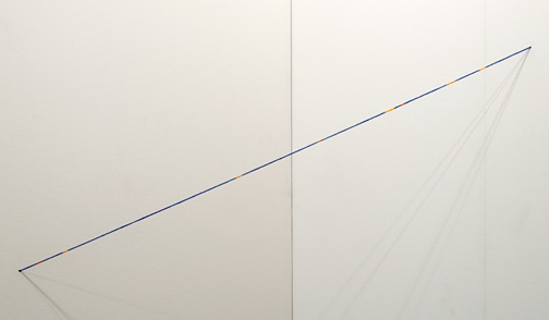 Fred Sandback / Fred Sandback Untitled (Broken Line diagonal Cornered Construction)  1995 Blue, yellow, and red acrylic paint on acrylic yarn FLS#2271 100 x 44 x 44 cm