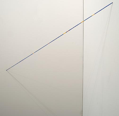 Fred Sandback / Fred Sandback Untitled (Broken Line diagonal Cornered Construction)  1995 Blue, yellow, and red acrylic paint on acrylic yarn FLS#2271 100 x 44 x 44 cm