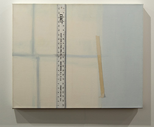 "Sylvia Plimack Mangold / Sylvia Plimack mangold Light on Rule, Wall and Tape  1975 61 x 76 x 3.5 cm / 24 x 30 "" acrylic on canvas"