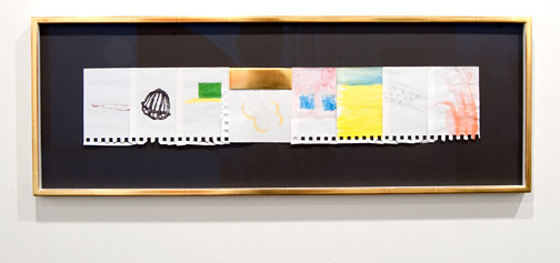 "Richard Tuttle / Richard Tuttle Rest on the Flight to Egypt  2009 29,5 x 82,5 cm / 11,6 x 3,25 "" watercolor, acrylic, graphite and goldleaf on paper on cardboard"