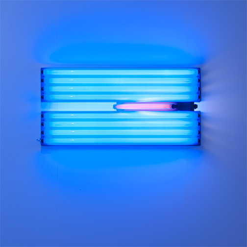Dan Flavin / Dan Flavin Untitled (for the Vernas on opening anew)  1993  58.5 x 122 x 51 cm Blue, pink and yellow fluorescent light Ed. 1/5