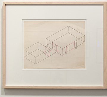 Fred Sandback / Fred Sandback Untitled (Dwan Gallery, New York, Three-part Construction)  1970  21.6 x 27.9 cm Pink pencil on printed paper