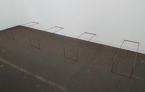 Fred Sandback / Fred Sandback Untitled  1968 1983  Overall: 22.5 x 329 x 98.5 cm Intervals: 69 cm Mild steel rod  (Eintopfprimer rotbraun)