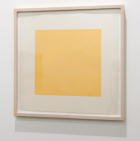 Sol LeWitt / Sol LeWitt Lines in Four Directions Superimposed  1971  45.5 x 45.5 cm Yellow ink on paper