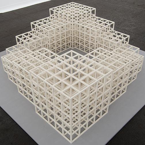 Sol LeWitt / Sol LeWitt 1,2,3,4,5 (Square)  1986 48,5 x 164,5 x 164,5 cm white painted wood structure