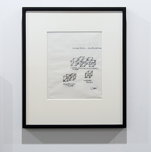 Sol LeWitt / Sol LeWitt Untitled ( Large Cube Structures)  1965–1969 26,4 x 22,9 cm 10,375 x 9 inch pencil and ink on vellum working drawing