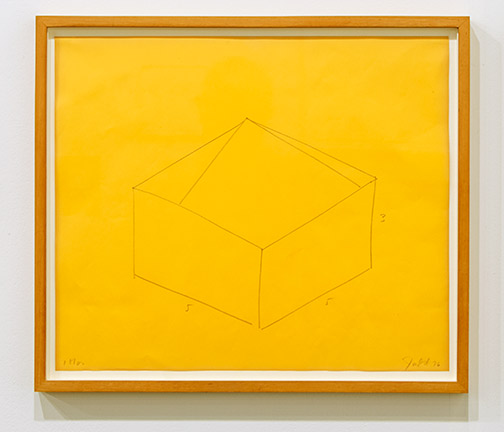 "Donald Judd / Donald Judd Untitled  1976 36.5 x 43 cm  /  16.25 x 18.5 "" pencil on yellow paper"