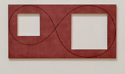 Robert Mangold / Robert Mangold Two Open Squares Within a Red Area (study)  2016  30.5 x 61 cm acrylic paint and pencil on panel