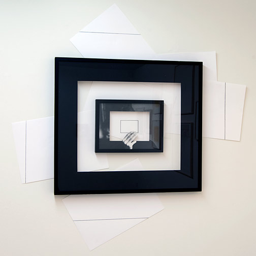 Giulio Paolini / Giulio Paolini Il Disegno in Persona  1998 139 x 134 cm; frame 73,5 x 82.5 cm pencil on paper, framed with black mount, framed in photographic mount and collage on wall