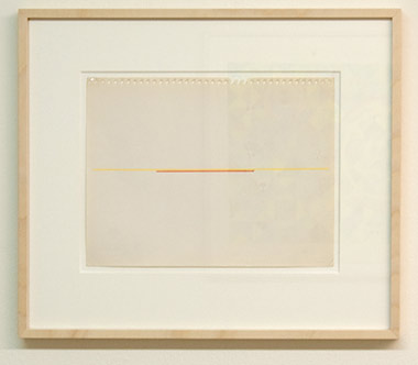 "Fred Sandback / Fred Sandback Untitled  1972 22.9 x 30.5 cm  /  9 x 12"" yellow and red marker on torn out paper"