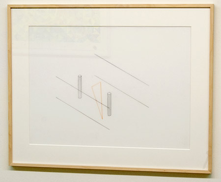"Fred Sandback / Fred Sandback Untitled  1991 44.5 x 61 cm  /  17.5 x 24"" pencil and peach pastel on Mylar"