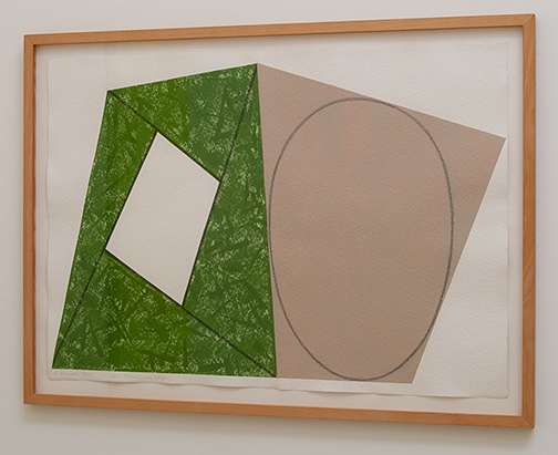 Robert Mangold / Robert Mangold Green Frame / Gray Ellipse   1987  76.2 x 106.7 cm acrylic and pencil on paper