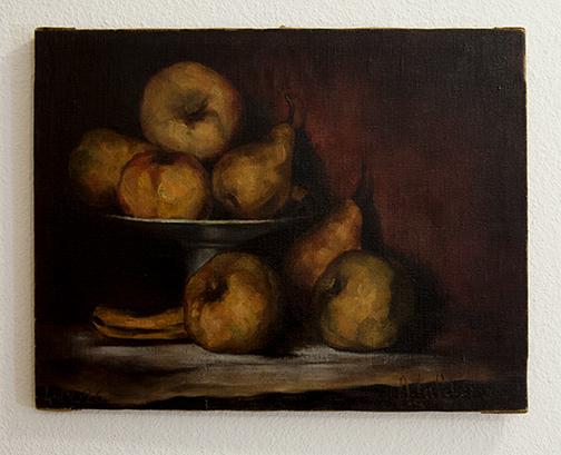 Antonio Calderara / Antonio Calderara Stilleben  (Äpfel, Birnen und Banane)  1926        35 x 45 cm Oel auf Leinwand