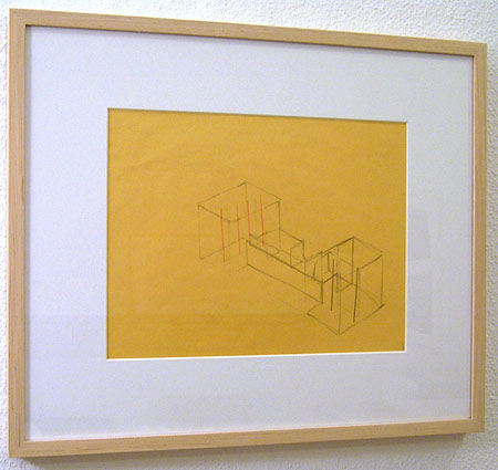 Fred Sandback / Untitled  2000 21.6 x 27.9 cm / 8.5 x 11 ″ pastel pencil and pencil on yellow paper FLS0182