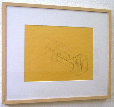 Fred Sandback / Untitled  2000 21.6 x 27.9 cm / 8.5 x 11 ″ pastel pencil and pencil on yellow paper FLS0182
