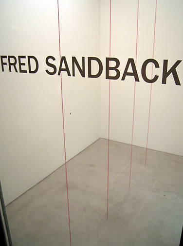 Fred Sandback / Untitled (Sculptural Study, Four part Vertical Construction) ca. 2000/2007 floor to ceiling x 334 cm red acrylic yarn FLS2592