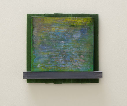 Joseph Egan / downstream  2010  38 x 42 x 5 cm various paints and sand on wood
