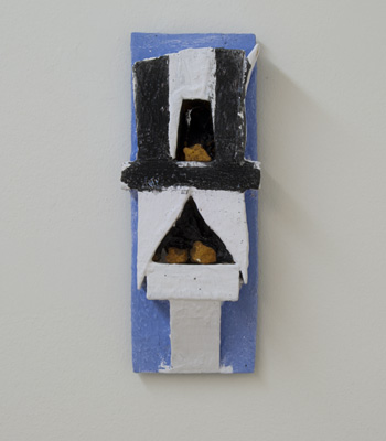 Joseph Egan / paintcote (on Hydra Nr. 3)  2010  32 x 13 x 7 cm various paints on wood with free elements (painted paint)