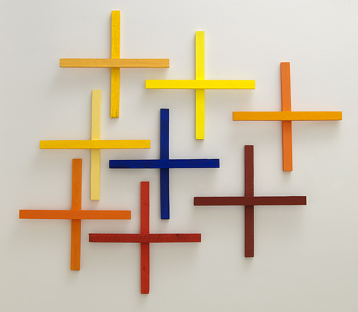 Joseph Egan / in addition Nr. 3  2011  in 8 parts dimensions variable each part: 60 x 60 x 5 cm various paints on wood