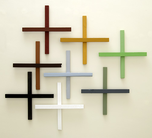Joseph Egan / in addition Nr. 5  2011  in 8 parts dimensions variable each part: 60 x 60 x 5 cm various paints on wood