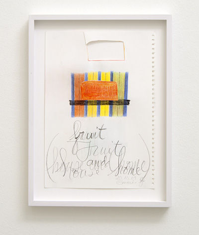 Joseph Egan / house and home Nr. 1  2009  29.7 x 21 cm framed: 36 x 27 x 2.5 cm colored pencil and collage on paper