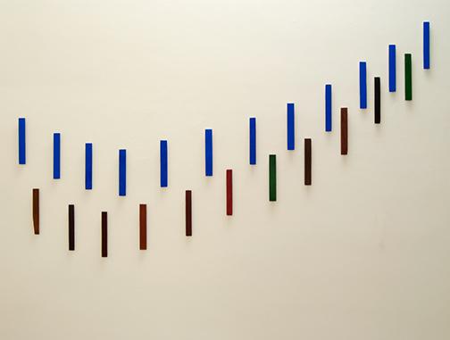 Joseph Egan / Voices Nr. 10  2008  each: 37 x 6 x 1.5 cm various paints and sand on wood (23 parts)