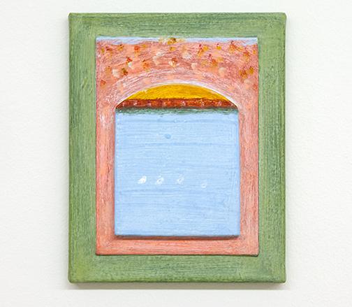 Joseph Egan / dust to dust  2017 30 x 24 x 3 cm various paints, sand and cork on canvas