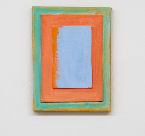 Joseph Egan / Curtain  2017  24 x 18 x 2 cm various paints, sand and wood on canvas