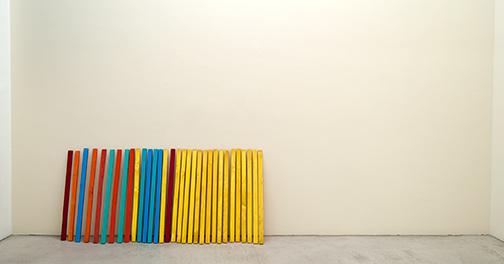 Joseph Egan / Bonnard's Advice  2013  each: 100 x 4 x 3 cm oil paint on wood (32 parts)