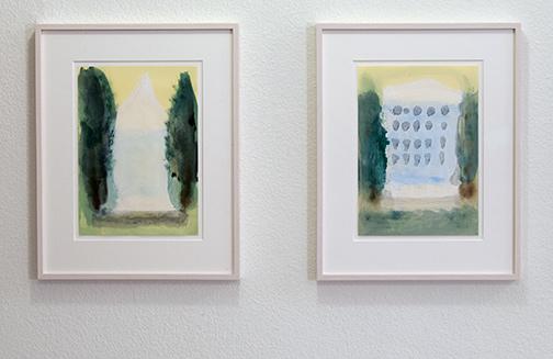 Joseph Egan / on Hydra (Nr. 31)  2014 45 x 36 x 2.5 cm Paper: 30 x 21 cm Oil paints on paper with framing on Hydra (Nr. 25)  2014  45 x 36 x 2.5 cm Paper: 30 x 21 cm Oil paints on paper with framing