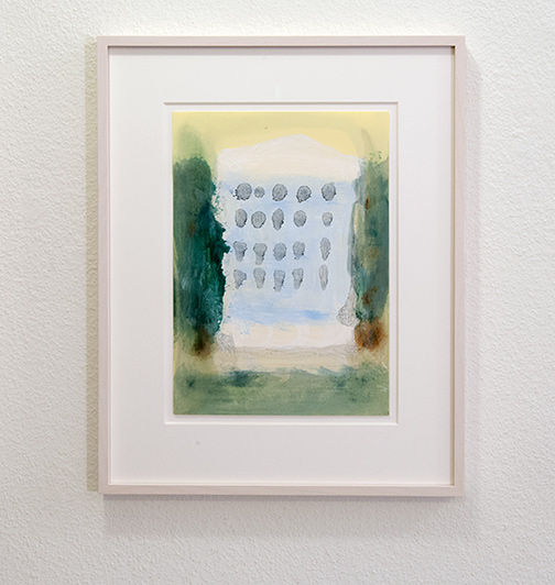 Joseph Egan / on Hydra (Nr. 25)  2014  45 x 36 x 2.5 cm Paper: 30 x 21 cm Oil paints on paper with framing