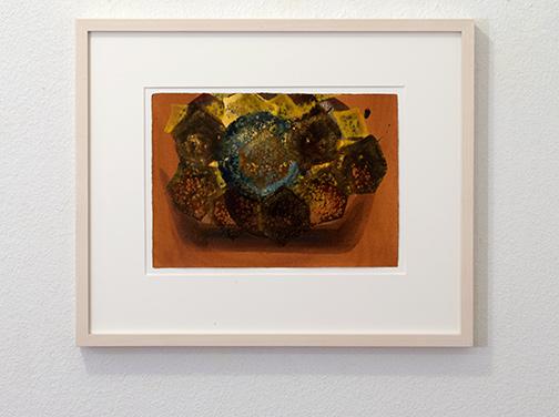 Joseph Egan / colorcomb (Nr. 23)  2014  39 x 49 x 3 cm Paper: 21 x 30 cm Oil paints on paper with framing
