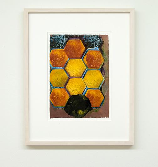 Joseph Egan / colorcomb (Nr. 33)  2014  49 x 39 x 3 cm Paper: 30 x 21 cm Oil paints on paper with framing