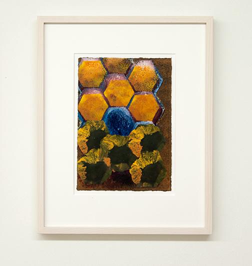 Joseph Egan / colorcomb (Nr. 34)  2014  49 x 39 x 3 cm Paper: 30 x 21 cm Oil paints on paper with framing