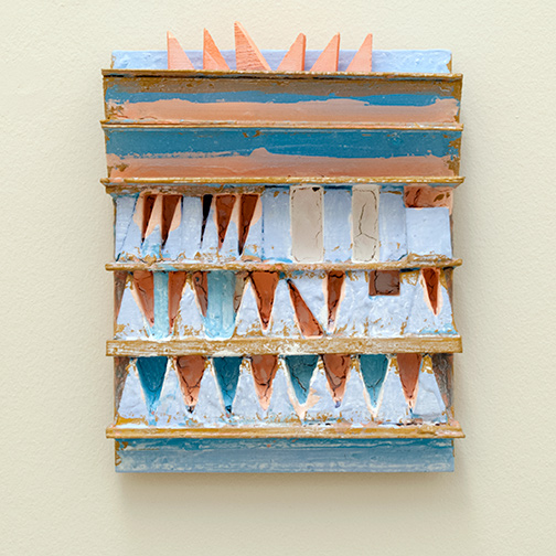 Joseph Egan / paintcote (Nr. 1)  2014  30 x 25 x 6 cm Various paints on wood with free elements