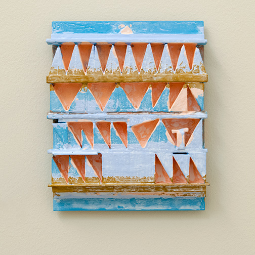 Joseph Egan / paintcote (Nr. 6)  2014  30 x 25 x 4 cm Various paints on wood