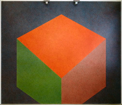 Joseph Egan / Sol LeWitt  Tilted Form with color ink washes superimposed  1987  Wall Drawing #524 water based acrylic