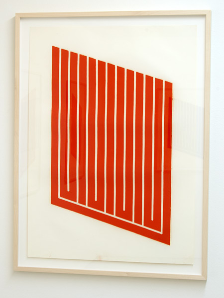 Donald Judd / Donald Judd Untitled (8-R)  1961-69 woodcut in cadmium red on cartridge paper 77.5 x 55.9 cm