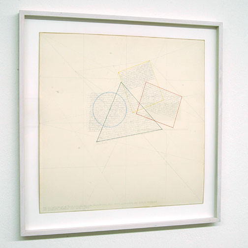 Sol LeWitt / The Location of a Blue Circle, Yellow Rectangle, Red Parallelogram and Black Triangle  1976 pencil and color ink on paper 37.5 x 38 cm   Privatsammlung nicht verkäuflich