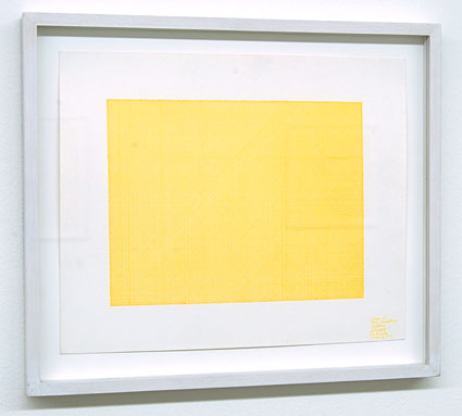 Sol LeWitt / Lines in Four Directions (Yellow)  1971 yellow ink on paper 22.5 x 27.5 cm   Privatsammlung nicht verkäuflich