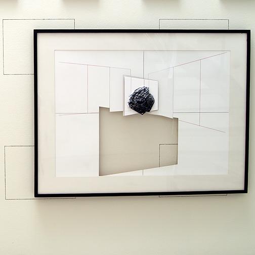 Giulio Paolini / L'asse di squilibrio  1994 -2009  70 x 100 cm Farbstift, Bleistift und Collage auf Papier und Plexiglas