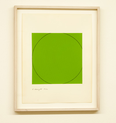 Robert Mangold / Robert Mangold Distorted circle within a green square  1972  35.6 x 28 cm   acrylic on paper