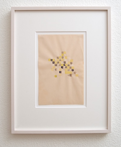 Richard Tuttle / Checkerboard Series (4)  1968  22.9 x 14.5 cm  yellow and purple watercolor on paper