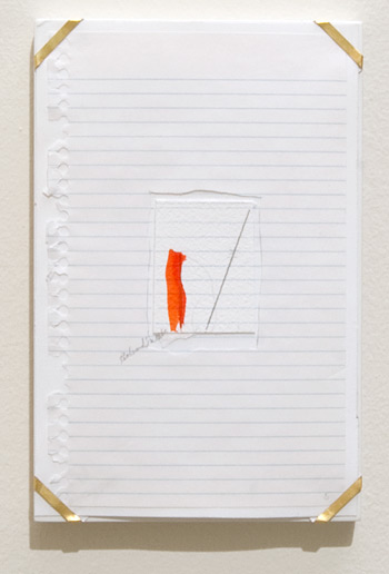 Richard Tuttle / Indianapolis, 5  1994  26 x 16.8 x 1.9 cm archival paper, colored pencil, gouache, notebook paper, pencil, watercolor paper and artist's frame with gold hardware