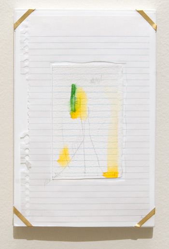 Richard Tuttle / Indianapolis, 6  1994  26 x 16.8 x 1.9 cm archival paper, colored pencil, gouache, notebook paper, pencil, watercolor paper and artist's frame with gold hardware