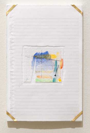 Richard Tuttle / Indianapolis, 13  1994  25.4 x 16.8 x 1.9 cm archival paper, colored pencil, gouache, notebook paper, pencil, watercolor paper and artist's frame with gold hardware